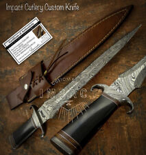 IMPACT CUTLERY RARE CUSTOM DAMASCUS DAGGER KNIFE BULL HORN HANDLE