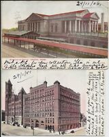 Omaha NE train station, City Hall and Bee Building on two early postcards to GB