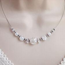 925 Silber Bergkristall Kette Vintage weiß Halskette Sterlingsilber f251
