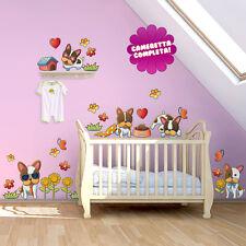 R00026 Wall Stickers Adesivi Murali camerette Cuccioli multicolore 30x120cm