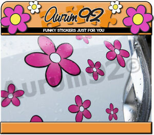 Pink Daisy Car Stickers - Pack of 30