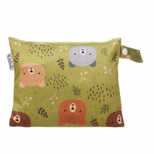 Small Waterproof Wet Bag with Zip 19 x 16cm - Green Forest Bear Design
