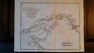 1776 ANTIQUE MAP CHART DELAWARE BAY & RIVER PHILADELPHIA - AMERICAN REVOLUTION