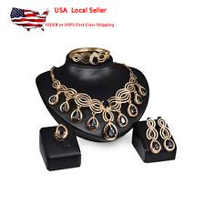 Womens Four Piece Set Gold Plated Wedding Fashion Jewelry Necklace Set Party Set
