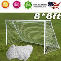 8 x 6FT PE Football Net Soccer Goal Post Nets Full Size Sport Training Match USA