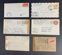 World War II, Lot of Six, 1944-1945, U.S. Army & Navy Censored Airmail Covers