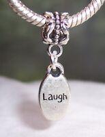 Laugh Inspirational Word Oval Message Humor Dangle Charm for European Bracelets