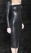 Women Dress Black Real Leather Evening Cocktail Ladies Dress WD06