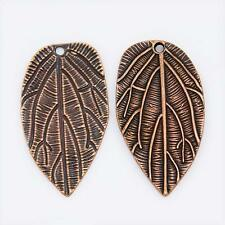 PACK OF 5 COPPER PLATED LEAF PENDANTS - 37mm...................P1812 *
