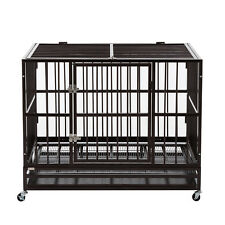 "42"" Metal Heavy Duty Dog Cage Large Pet Crate Kennel Playpen w/Tray Wheels"