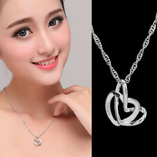 925 Sterling Silver Open Double Heart Pendant Necklace Chain Ladies Gift New