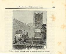 Stampa antica MAZZO VALTELLINA Castello Pedenale Sondrio 1896 Old antique print