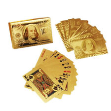 PLAYING CARDS HIGH QUALITY 24K GOLD FOIL NEWEST 100.00 BILL BENJAMIN FRANKLIN