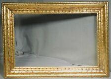 Antique Arts Crafts 11x18 Carved Gilt Metal Leaf Picture Frame Glazed Gold 1925