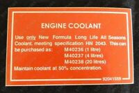 Suits Holden VN VG VP VQ VR VS HSV - Engine Coolant Warning Decal/Sticker