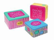 HAPPY JACKSON SLOGON SQUARE SET OF THREE 3 STACKING STORAGE CAKE TINS BOXES