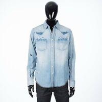 SAINT LAURENT PARIS 850$ Destroyed Western Shirt In Dusty Blue Denim