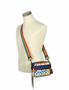 COACH GRAHAM PRIDE CROSSBODY SHOULDER RAINBOW SIGNATURE CANVAS PURSE BAG $328