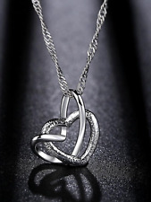 Ladies silver 925 heart pendant with necklace jewellery gift present valentine