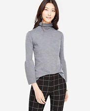 NWT Ann Taylor Fluted Turtleneck Extrafine Merino Wool Sweater. Charcoal. Large