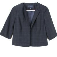 Banana Republic Womens Navy Blue Cropped Blazer 3/4 Sleeve Jacket Size 2