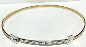 BEAUTIFUL  SECONDHAND 9ct WHITE AND YELLOW GOLD DIAMOND BANGLE BRACELET 19.5cm