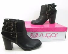 Women's Sugar Hacha Faux Leather Ankle Boot Black Tonal Size 9.5 M