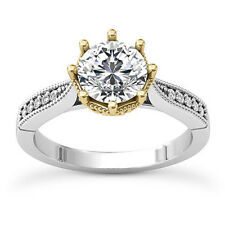 Solitaire 1.04 Carat SI1/I Round Diamond Real Engagement Ring 14K Yellow Gold