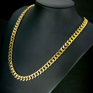 18k gold vacuum plating mens solid chain long Necklace curb ring link jewellery