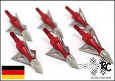 6x Pfeilspitzen rot Jagdspitzen Armbrust Bogen Alu mit 3 Klingen aus Edelstahl