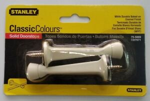 Stanley Hardware 75-5869 Square Tapered Solid Door Stop White 2 Pack NOS Sealed
