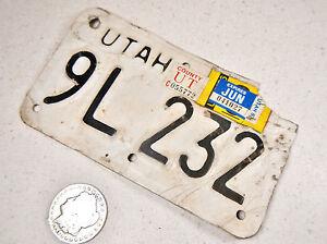 UTAH MOTORCYCLE LICENSE PLATE 9L 232