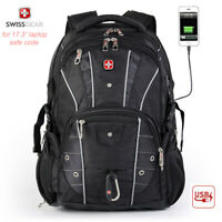"SwissGear 17"" Laptop Backpack USB Charge Schoolbag Waterproof travel Hiking bag"