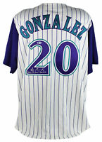 "D-Backs Luis Gonzalez ""2001 WS Game 7 GW Hit"" Signed Majestic Jersey BAS"