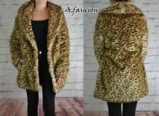 NEW NEXT TAGGED £75 UK 8/10/12 FAUX FUR LEOPARD PRINT COAT JACKET