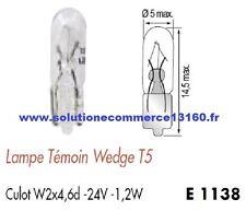 LOT 2 LAMPE AMPOULE TEMOIN WEDGE T5 24V 24 Volts 1,2W Culot W2x4,6d