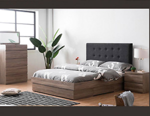 Hawaii Dark Grey Queen Bed with Upholstered Cushion Headboard Drawer Base Frame
