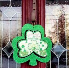 Saint Patricks Day Door Wreath Three Leaf Clover Decor Hanging Swag Shamrock Sig