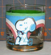 Vintage Snoopy Woodstock Peanuts Rainbow Glass Tumbler (Schultz 1958-1965)