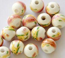 15Pcs Hand Painted Ceramics Porcelain Flower Leaf Beads Finding--10mm