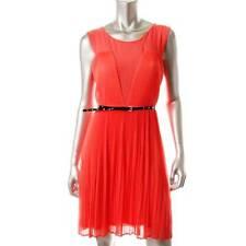 GUESS ~ NEW $129 CAROLINE ORANGE CHIFFON PLEATED COCKTAIL DRESS SZ M ~ NWT