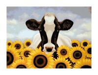 Cow and Sunflowers Handmade DIGITAL Counted Cross-Stitch Pattern Needlepoint
