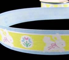 "10 Yards Easter Sweet Baby Bunny Yellow Blue Acetate Ribbon 1 1/4""W"