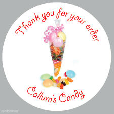 Personalised Sweet Shop Cone Birthday Stickers Party Thank You Business -158