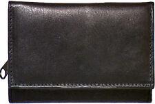 Genuine Lambskin Leather Ladies Tri-fold Wallet BLACK # 7083