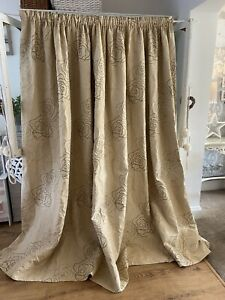 Bespoke Thick Heavy Neutral Cream Floral Large Single Door Curtain 111w 86d