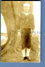 REAL PHOTO RPPC T_1188 SAILOR POSED BY LARGE TREE