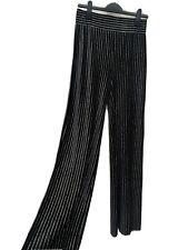 BLACK GOLD STRIPE Stretch Velvet Trousers UK 12/14 Jazzy Wide Leg Pants Bottoms