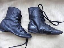 Girl's CAPEZIO JAZZ FLEX SHOES Sz 12.5 BLACK BRAZILIAN Leather NEW High Top Lace