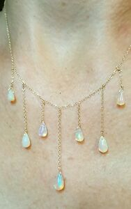 5ct pear briolette Ethiopian fire opal solid 14k yellow gold necklace pendant